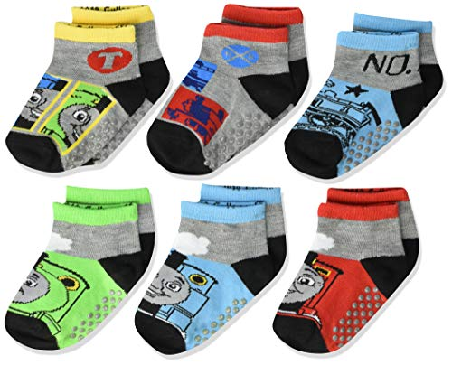 Thomas The Train Gifts (Thomas Little Quarter Length Socks with Grippers, 6 Pair Pack, Multi, 4-6 Boys (Shoe)