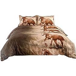 Junhome 3D Duvet Cover Set Queen Size Horse Print Bedding Set Queen Hypoallergenic Quilt Cover Queen Size Comfy 100% Polyester 4 Piece(Comforter Cover + Flat Sheet + 2 Pillow Shams)