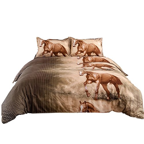Junhome 3D Duvet Cover Set Queen Size Horse Print Bedding Set Queen Hypoallergenic Quilt Cover Queen Size Comfy 100% Polyester 4 Piece(Comforter Cover + Flat Sheet + 2 Pillow Shams)
