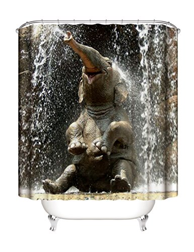 Waterproof Bathroom Fabric Shower Curtain, Funny Elephant Picture Painting Effect Nature Artwork Prints Shower Curtains Set with 12 Ring Hooks, 72×72 Inches