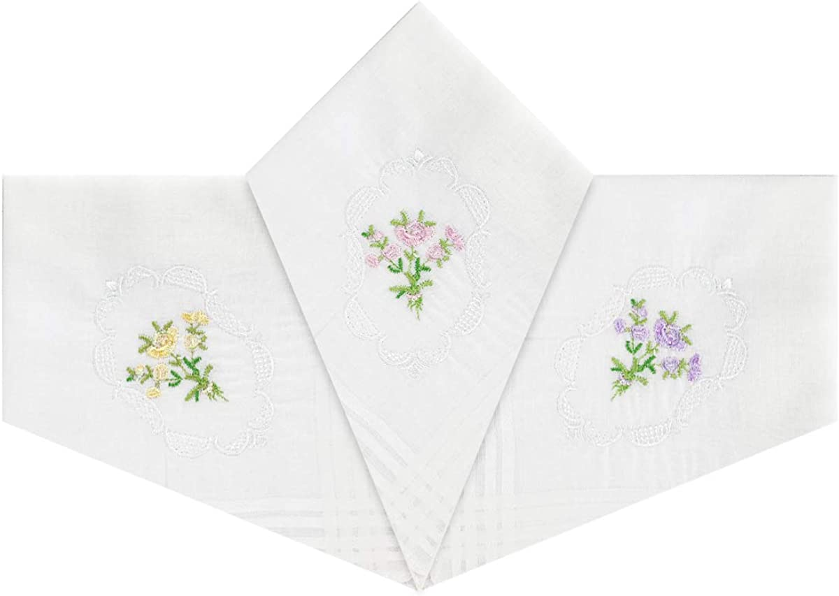 29 x 29cm Pack Of 3 Womens//Ladies Handkerchiefs 100/% Cotton Floral Embroidered With White Satin Borders