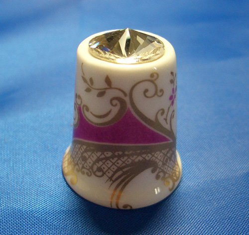 (Porcelain China Collectable Thimble - Purple & Gold with Swarovski Crystal - Free Gift Box)