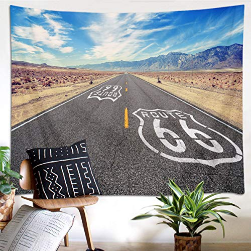 (HVEST Highway Tapestry Route 66 Pavement Under Blue Sky in California's Desert Wall Hanging Tapestries for Bedroom Living Room Dorm Wall Dinning Tablecloth,60Wx40H inches)