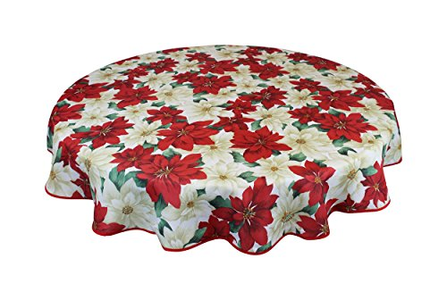 (Violet Linen European Christmas Poinsettia Floral Design Printed Tablecloth 60