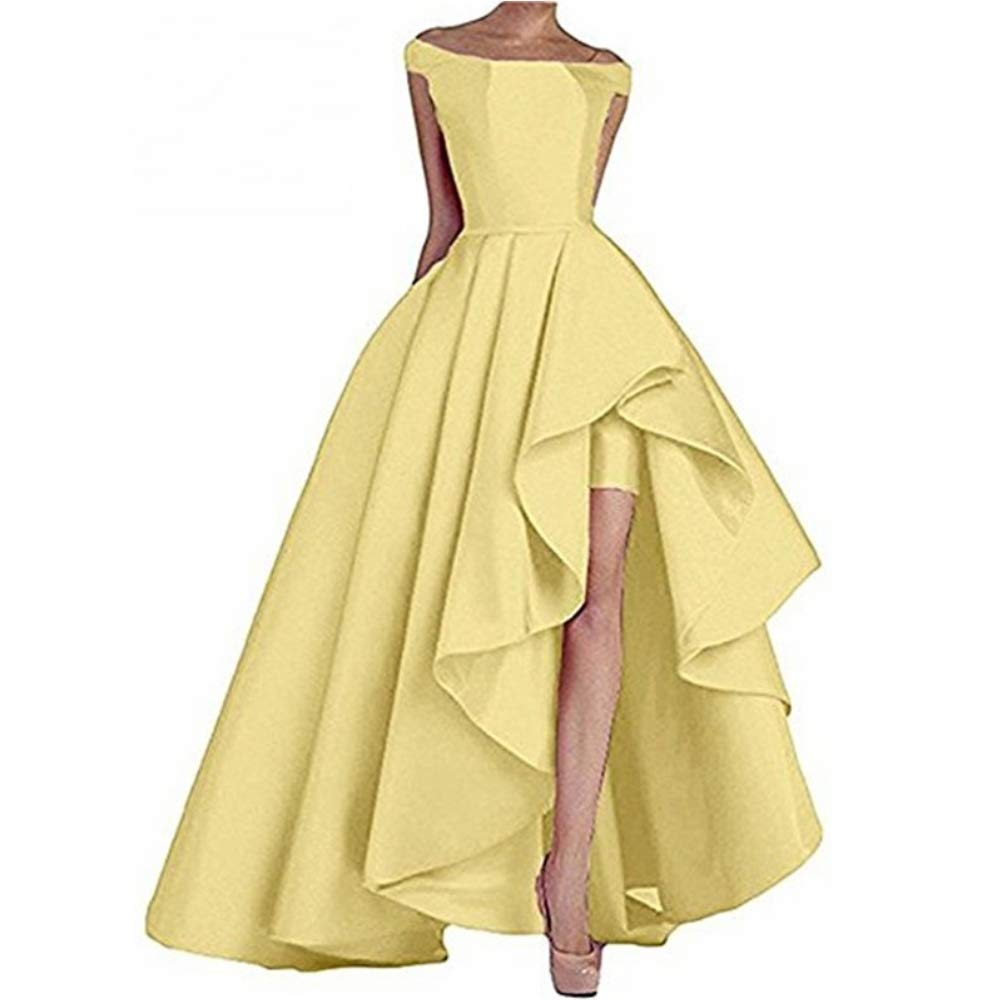 Yellow Liaoye Women's Off Shoulder Satin Long Prom Dress High Low Evening Dress Formal Gowns