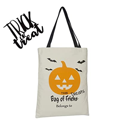 c72ef0432a34 Personalized Halloween Tote Bag Durable Trick or Treat Candy Sack Bags  Large Canvas Party 13x17