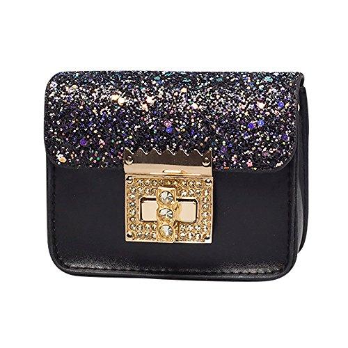 Women's Bags HOSOME Children Cute Paillette Handbag Shoulder Bag Mini Messenger Bag Black