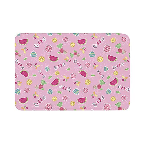 C COABALLA Sweet Durable Door Mat,Candies Yummy Treats Watermelon Creative Delicious Tastes Kids Design for Living Room,17.7