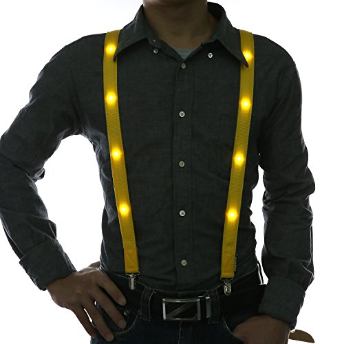 Glowseen® Light up Glowing Clip on Adjustable Suspenders for Party Costume (Yellow)