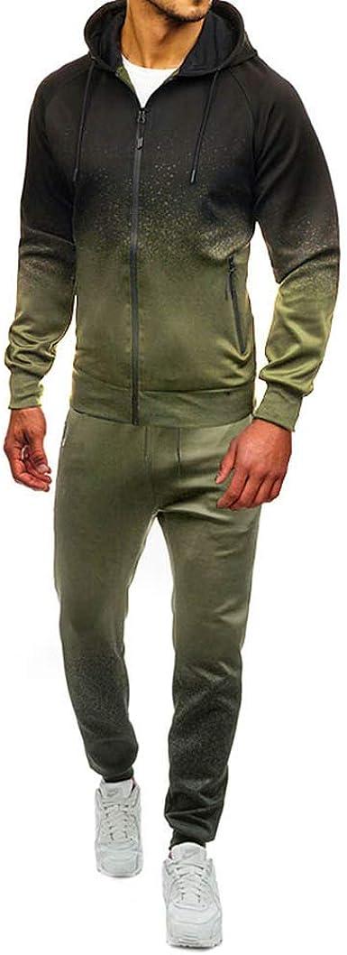 Men Tracksuit Set 2 Piece Track Suit Sweat Hoodie Tops Bottoms Joggers Jogging