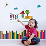 Children Room Decor Wall Stickers Colorful Pencil Wall Border Decals Doodle for Kid's Room Nursery,24.4 x 38 Inch