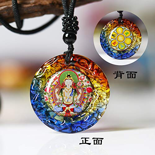 opening security peace evil green tara word glass pendants buddhist statues become attached necklace pendant chain talisman (the front of the four-armed goddess of mercy, gua