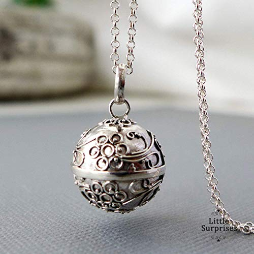 16mm Angel Caller Flower Harmony Ball Sterling Silver Bola Pregnancy Necklace 36