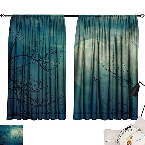 Warm Family Tie Up Printed Blackout Curtain Horror House,Halloween with Full Moon in Sky and Dead Tree Branches Evil Haunted Forest Print,Blue 72