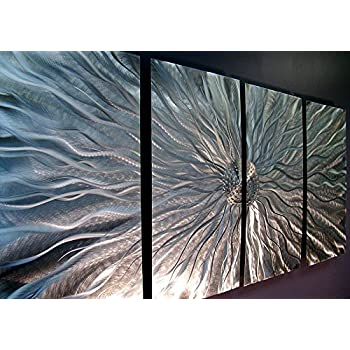 Statements2000 Silver Metal Wall Art, Abstract Metallic Wall Hanging - Contemporary  Wall Art - Modern