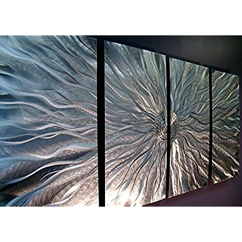 Statements2000 silver metal wall art abstract metallic wall hanging contemporary wall art modern panel art wall decor wall sculpture wall accent