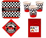 Multiple Racing Party Theme Tableware Kid's Race Birthday Party Supplies Set for 16 Plates, Napkins, Cups