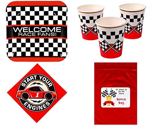 Checkered Flag Racing Set (Racing Party Theme Tableware Kid's Race Birthday Party Supplies Set for 16 Plates, Napkins, Cups)