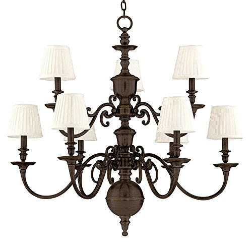 Charleston 9-Light Chandelier - Old Bronze Finish with Off White Faux Silk Shade