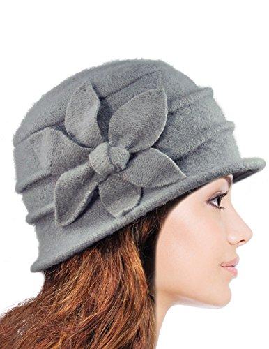 Dahlia Women's Daisy Flower Wool Cloche Bucket Hat - Light Gray