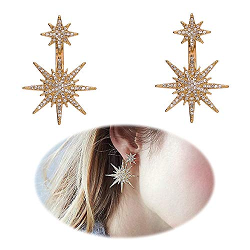 Star Stud Dangle Snowflake Earrings Women Christmas Shinning Rhinestone Fashion Party Wedding Clip on Ear Jacket Jewelry -