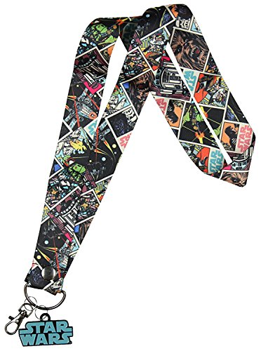 Star Wars Multi Character Wide Trading Pin Lanyard ID Holder with Metal Charm (Wide Lanyard)