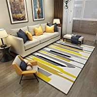 ChezMax Modern Striped Area Rug Contemporary Geometric Carpet Indoor Decorative Floor Rug for Living Room Yellow 46 X 66