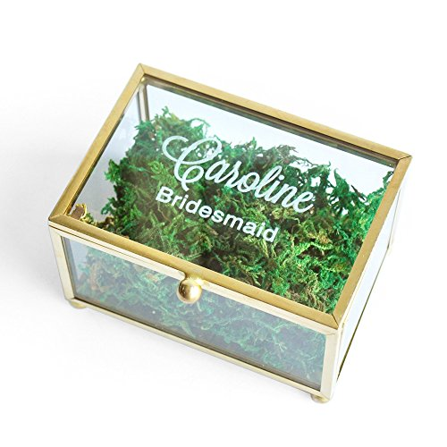 Personalized Glass Ring Box Bridesmaid Gift, Bridesmaid Jewelry Box Custom Wedding Ring Box Geometric Ring Pillow by weddinghanger2015