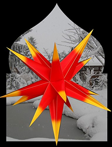 Außenstern rot mit gelben Spitzen 3D außen Stern Kunststoff Adventsstern Weihnachtsstern Outdoor