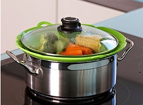 KINGZHUO 10'' Boil Over Spill Stopper Lid Stops Pots and Pans from Messy Spillovers Silicone Multi-function Cooking Tools
