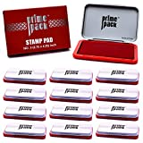 PRIMEPACK Stamp Pad | for Self Inking Stamps and Rubber Stamp Pads - Premium School and Office Supplies - Great for Kids, Children, Teacher – 1 oz. Bottle, Drip Applicator - Red – Bulk 12 Packs