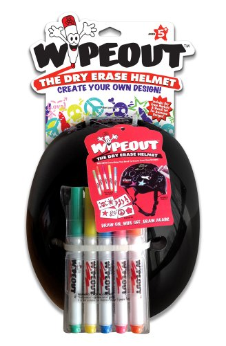 Wipeout Dry Erase Kids' Bike, Skate, and Scooter Helmet, Black, Ages 5+