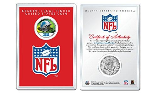 Detroit Lions Coin Card - DETROIT LIONS NFL Helmet JFK Half Dollar U.S. Coin w/Display Case LICENSED