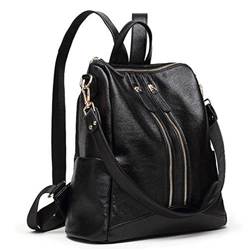 Shoulder Girls Black Leather School Multifunctional Bag Casual Student Women Ladies Soft Campus Teens Bag Rucksack for Backpack Millya q7gRAg