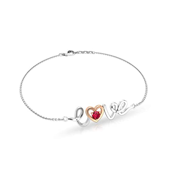 Pulsera de cadena de amor con forma de corazón minimalista rubí de la amistad pulsera de abalorios de piedras preciosas pulsera de corazón de dama