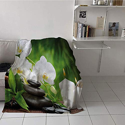 Khaki home Children's Blanket Soft Blanket for Sofa Couch Bed (30 by 50 Inch,Spa,Healing Zen Stones with Orchid and Burning Candles in a Romantic Harmony,Black White and Green