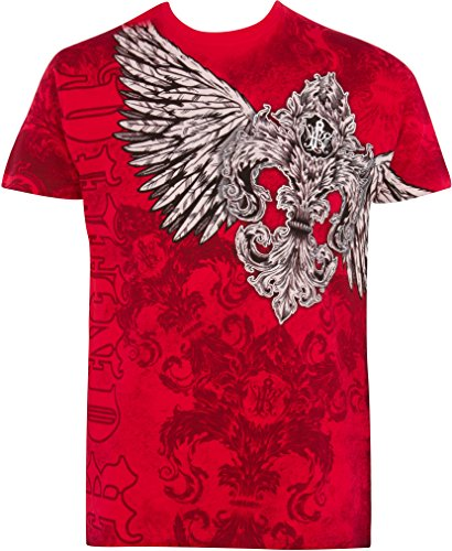 Sakkas T785 - Kevin Eagle Wide Wing Printed Mens T-Shirt - Red - - Lookbook Fashion Designer