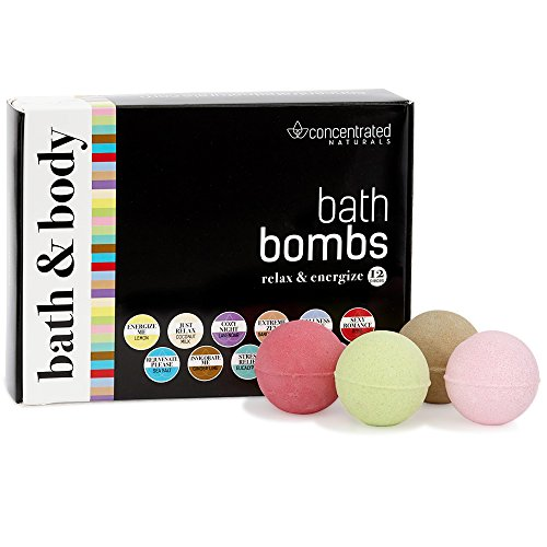 Bath Bomb Set Chic Luxury Gift Box Set of Scented Fizzy Spa Bath Ball Bombs for Relaxing & Energizing | Moisturizing w/Shea Butter | Pretty Pastel Variety Pack | 12 count