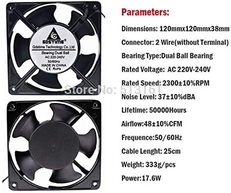 2Pcs Gdstime 120mm x 38mm 2 Wire AC 220V 240V Ball Bearing Case Cooling Fan