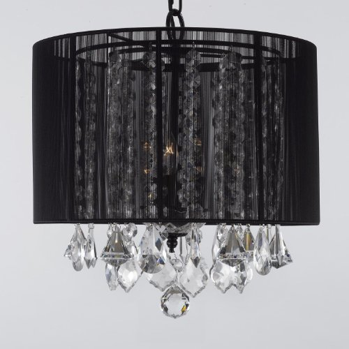 Crystal Chandelier Chandeliers With Large Black Shade! H15″ x W15″