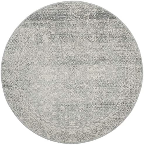 Safavieh Evoke Collection Silver and Ivory Round Area Rug