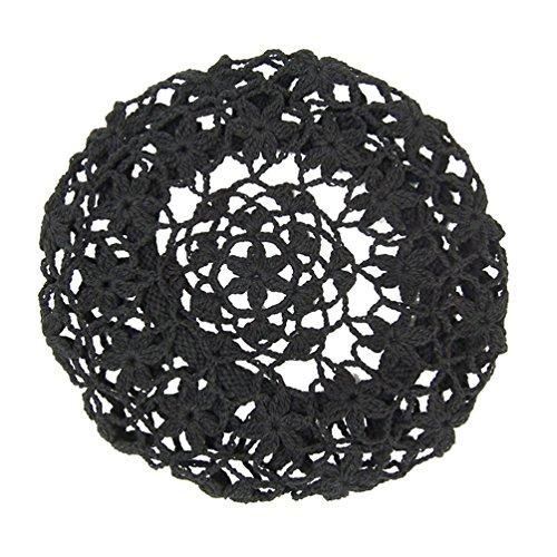 (zefen Women's Light Beret Crochet Knitted Style for Spring Summer Fall Black)