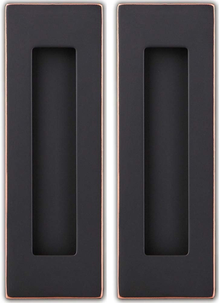 Sehrgut Flush Pull Handle (2 Pack) 6'' Rectangular Plated Oil Rubbed Bronze, Free of Sharp Edge, for Sliding Pocket Barn Door or Cabinet