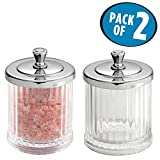 mDesign Fluted Bathroom Vanity Storage Organizer Canister Apothecary Jars for Cotton Swabs, Rounds, Balls, Makeup Sponges, Beauty Blenders, Bath Salts - Pack of 2, Clear/Chrome