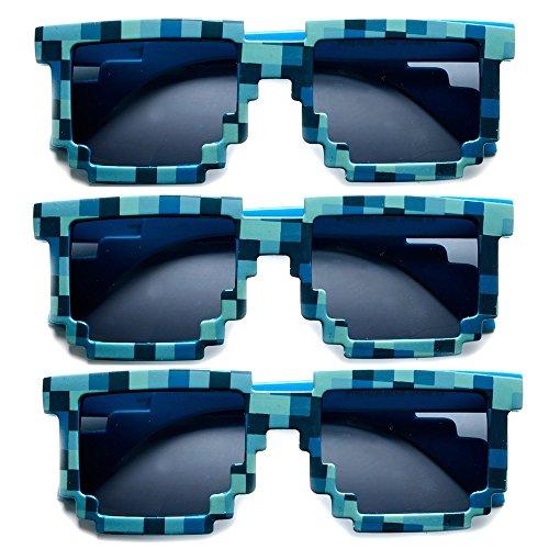 8-Bit Pixel Retro Novelty Gamer Geek Creeper Costume Sunglasses (3-pack Blue, - Bit Costume 8
