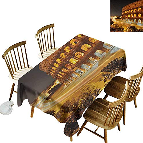 Cranekey Fashion Tablecloth W60 x L84 Italy Colosseum at Night Scenery Rome European City Heritage Monument Landscape Amber Marigold Black Great for Outdoors & More