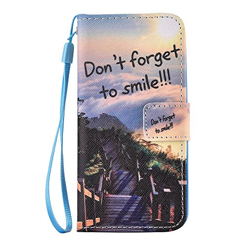 Personalized Wallet Leather Phone Tasche Hüllen Schutzhülle - Case für iPhone SE/5s/5 with Wrist Strap - Pretty Scenery and Motto