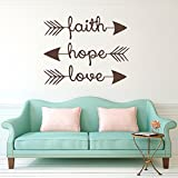 """Wall Decal Decor Family Wall Decal Quote - Faith Hope Love - Bible Verses Arrow Art Mural Psalms Vinyl Stickers Bedroom Bohemian Decor Living Room (brown, 22""""h x28""""w)"""
