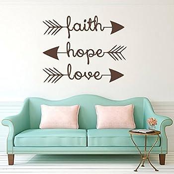 amazoncom faith hope love vinyl wall art decal home