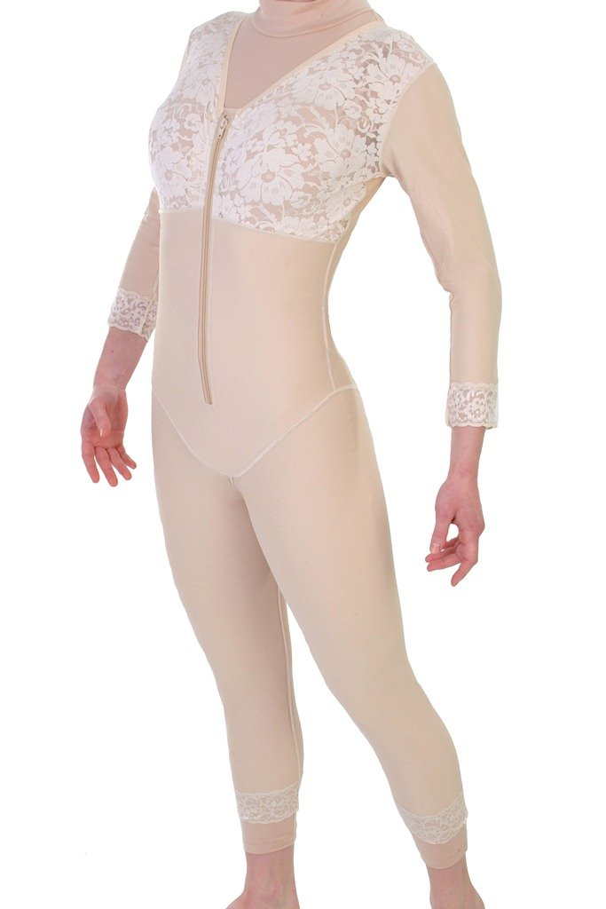 Post Surgery - Mid Thigh Body Shapewear - No Zippers | ContourMD : Style 27NZ - Large Beige